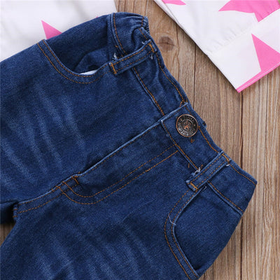Autumn Children Clothes Set Toddler Kids Baby Girls Stars T-shirt Top Ripped Jeans Pant New Arrival Girl Clothes Outfit Set