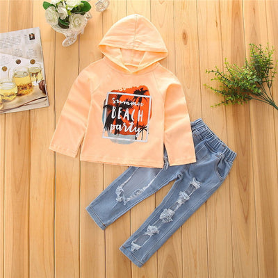 2pcs Children Clothes Set Toddler Baby Girls Long Sleeve Hooded Tops Ripped Jeans Pants New Outfits Clothing Sets