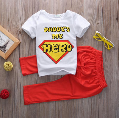 Kid baby set clothes Daddy's My hero Toddler Baby Boys Girls T-shirt Tops+Pants Casual Outfits Clothing Set