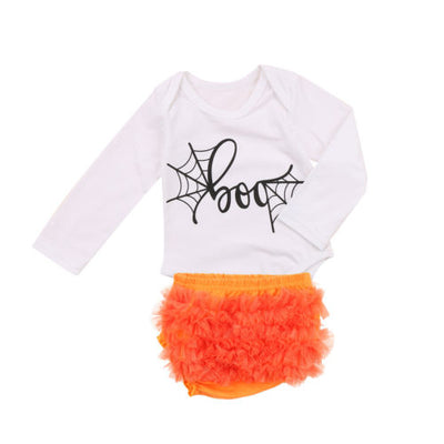 2Pcs Halloween Gift Newborn Baby Boy Girls Long Sleeve Romper Jumpsuit Lace Shorts Outfits Clothes