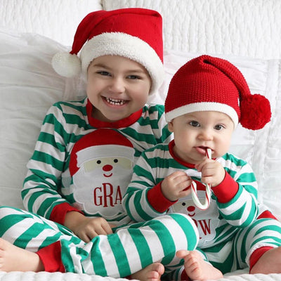 Baby Boy Girl Christmas Pajamas Set Kid Baby Long Sleeve Xmas Cotton Striped Sleepwear Nightwear  New Fall Kids Clothing Set