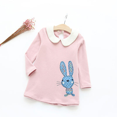 Autumn Long Sleeve Girls Dress New Casual Style Girls Clothes Cartoon Rabbit Embroidery Cotton Dress Kids Clothes