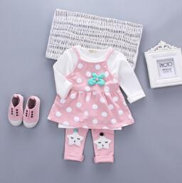 Autumn Baby Girls Clothing Sets 3 PCs girls spring sport suit long sleeve cartoon t-shirt overall dress pants tracksuit