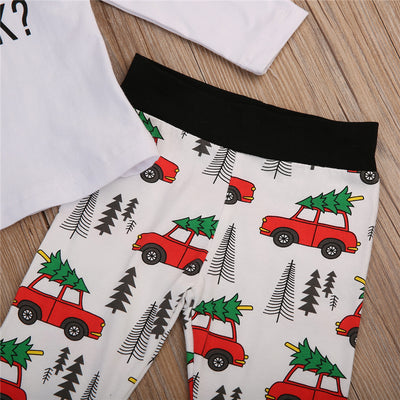 Children Cotton Clothes Set Toddler Newborn Baby Boys Girl T-shirt Christmas Pants Girls Clothing Set