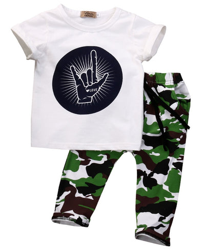 Baby Clothing Sets Infant Baby Boys Clothes Tops T-shirt Camouflage Pants Outfits