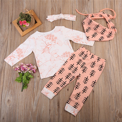 4PCS Cute Newborn Girl Clothes Set Baby Boy Long Sleeve T-shirt Top Pant Legging Headband Bib  New Toddler Kids Clothing Set