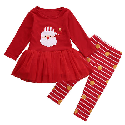 Christmas Baby Girl Clothes Set Cute Kids Baby Girls Top Tulle Dress Pants Leggings Outfit New Clothing Sets