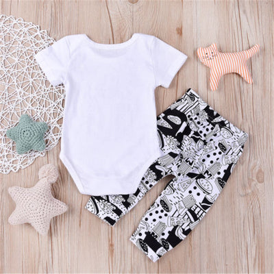 Newborn Baby Boys Girls Milk Romper Tops Long Pants Baby Boys Cotton Clothes New Arrival Fashion Outfit Set