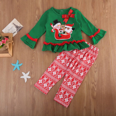 Baby boy clothes newborn Christmas Baby Kids Boy Girl Long Sleeve Tops Pants Hat baby clothing sets