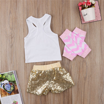 Newborn Infant Baby Girls Clothing Sets Cotton Flower Print Summer Vest Sequins Shorts Leggings Baby Sets Girl Clothes