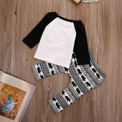 Autumn infant clothes baby clothing sets Cotton letter Long sleeve Printed Pants suit baby boy clothes