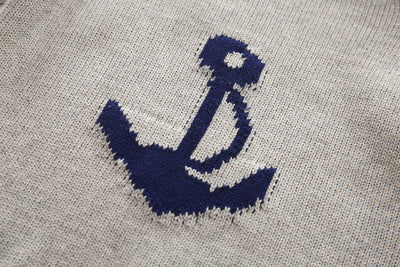 Baby Boy Anchor Jacquard Round Neck Pullovers Sweater Clothes Children Long Sleeve Casual Sweater Clothing