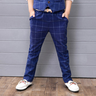 3pcs Fashion Boys Suits Spring Autumn Plaid Cotton Blazer Vest Pant Kids Wedding Party Wear Clothing Sets
