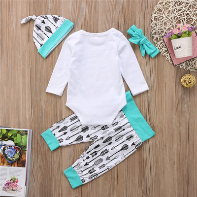 4PCS Set Girls Clothes Sets Hot Newborn Baby Boys Girls Cotton Valentine Romper Long Pants Hat Headband Outfits Clothes Sets