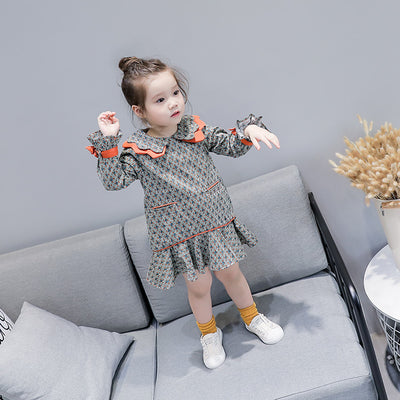 Autumn Children's Dress New Casual Floral Dress Long Sleeve Cuff Strap Bowknot Girl Dress Fashion Kids Clothes