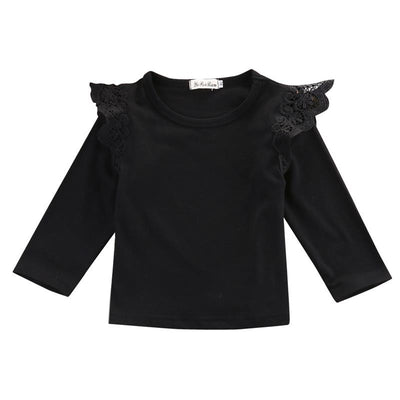 Kids Toddler Clothes Baby Girls Clothing Lace Splice Girl Cotton Long Sleeve T shirts Casual Blouse Tops Children's Clothing