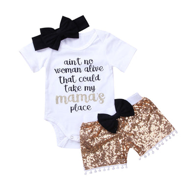 3PCS Set Summer Baby Clothing New Newborn Infant Girl Boy Tops Romper Bow Sequins Shorts Pants Outfits Casual Baby Clothes