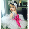2Pcs/Set ! Kids Girls Dress Sequins Tulle Bridesmaid Wedding Birthday Party Pageant Dresses With Headband