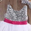 Kids Girls Dress Sequins Tulle Bridesmaid Wedding Birthday Party Pageant Dresses With Headband