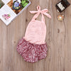 born Infant Baby Girl Lace Sequins Splice Romper Sequins Halter Jumpsuit Outfits
