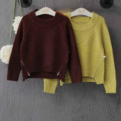 Baby boys Children's solid causal Sweaters Clothes Long Sleeve Round Collar knitted Sweater kids Zipper Clothing