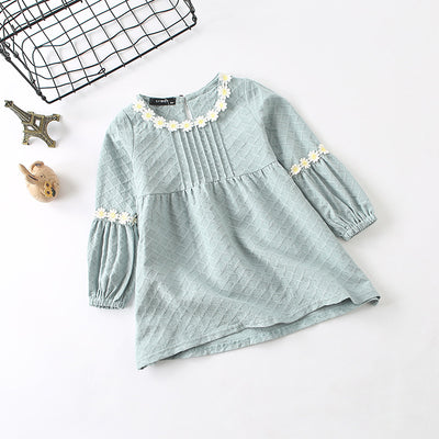 Autumn Kid's clothes girl long sleeves dress cute sweet lace high waist dress girl clothes