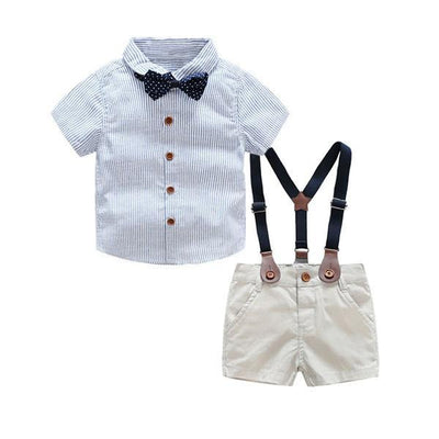 Summer baby boy clothing set newborn infant clothing 2pcs short sleeve t-shirt + suspenders gentleman suit