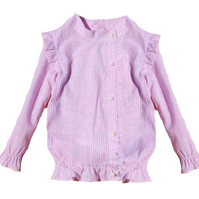 Baby Blouses Turn-down Collar Striped Shirts For Girls Princess Party Blouses Cotton Toddlers Kids Clothes Students School Tops