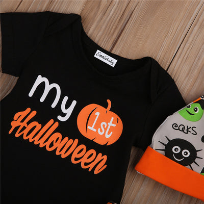 3PCS Baby Halloween Pumpkin Clothes Set Newborn Baby Boy Girl Black Romper Pants Leggings Hat New Hot Clothing Sets