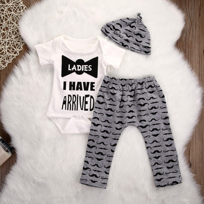 3Pcs/Set Autumn Newborn Infant Baby Boy Cotton Long Sleeve bow-knot Romper + Mustache Pants +Hat  3pcs Outfits Set Autumn Set