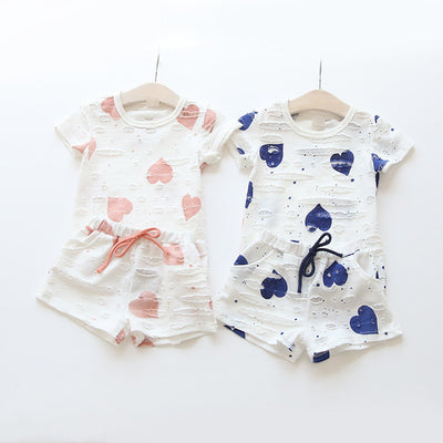 Kids Clothing Baby Girls Clothes Sets Summer Heart Printed Girl Tops Shirts Shorts Suits Children Clothing