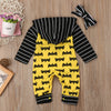 2pcs Batman Outfits Newborn Baby Boy Girl Long Sleeves Anime Hooded Romper Headband Cotton Clothes