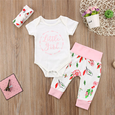 Autumn Winter Cute Newborn Baby Girls Clothes Cotton Tops Long Sleeve Romper Floral Leggings Pants Hat Outfits Set 3pcs