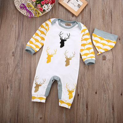 Autumn Winter Cute deer Baby Boys Rompers One Piece Long Sleeve Jumpsuits Cotton Newborn Infant Costume With Hat Clothing