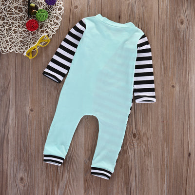 Autumn Infant Baby Girl Boy Stripe Arrow Print Romper Striped Splice Long Sleeve Jumpsuit Outfits Clothes