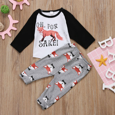 Toddler Baby Boy Girl Fox Romper OH T-shirt Tops Long Print Pants Clothes Outfit