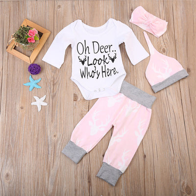 4pcs Newborn Baby Clothes Set Newborn Baby Boy Girls Tops Romper Long Pants Outfits Clothes