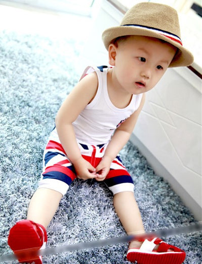 Baby Boy Summer Style boys Vest suit tops & short pants outfits baby cotton clothes