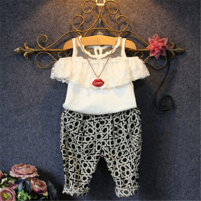 Toddler Kids Baby Girls Summer Lace T-shirt Tops Long Pants Leggings New Arrival Fashion Outfits Clothes Set For Girls