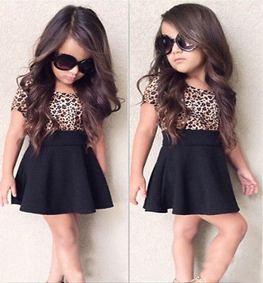 2 Set Baby Girls Kid Summer Dress Clothes Leopard Short Sleeve T Shirt  Black Mini Skirt