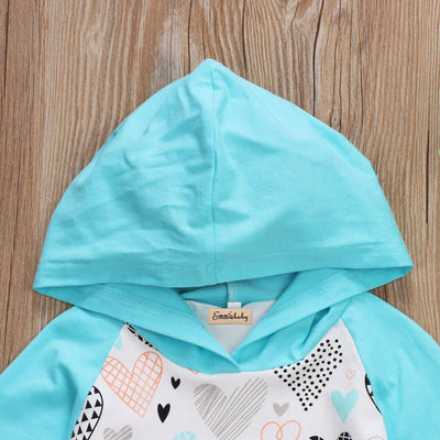 2pcs Newborn Baby Kids Boys Girls Hooded Clothes Long Sleeve Tops+Long Pants Outfits Set Kids Boy Girl Heart Clothes