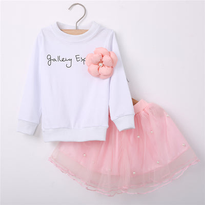 Autumn Baby Girls Clothing Set Cotton Kids Long Sleeve Skirt 2pc New Arrival Suit Clothes Sets Children Clothes Outfits Set