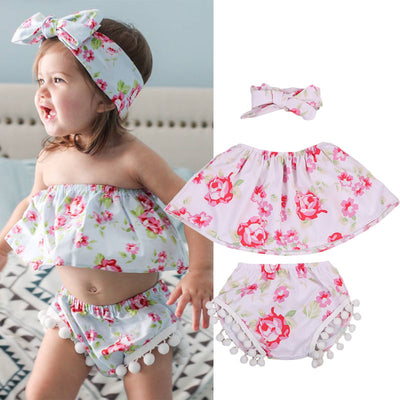 Baby Kids Girls Summer Outfits Toddler Floral Lace Sleeve Heart Top Shirt Flower Pants Shorts Headband Clothes Set
