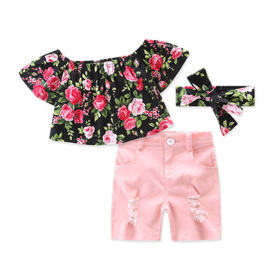 Floral Tops Shorts Headband Toddler Kids Girls new arrival fashion Outfits Clothes