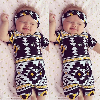 Baby Boy Girl Geometric Rompers Kids Short Sleeve Print Button Romper Headband Jumpsuit Sunsuit Outfits Clothes