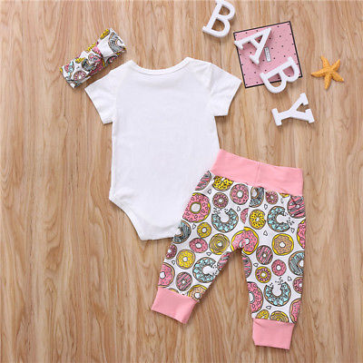 3PCS Newborn Infant Baby Girls Clothes Playsuit Romper Pants Bodysuit Headwear Outfit Set