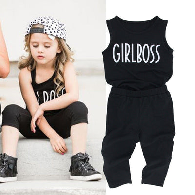 2pcs Toddler Kid Baby Girls Clothes Fashion Summer Cotton Sleeveless Letter Vest Long Pants Baby Clothes Baby Clothing Set