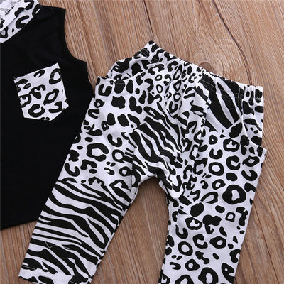 2Pcs Baby Clothing Kids Baby Boys Girls Short Sleeve Hooded T-shirt Tops Pants Outfits Clothes Set