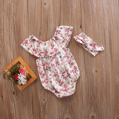 2pcs Set Newborn Toddler Baby Girl Clothes Lace Floral Romper bow knot Jumpsuit Clothing Outfits  Headband
