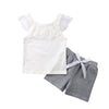 2Pcs Newborn Kids Girls Sleeveless Lace Cute White T shirt Tops Short Pants Outfit Set Fashion Casual Clothes